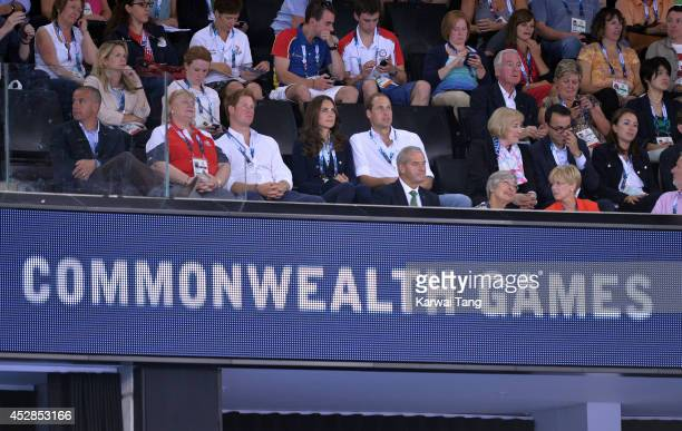 Prince Harry Catherine Duchess of Cambridge and Prince William Duke of Cambridge attend the gymnastics during the Commonwealth Games on July 28 2014...