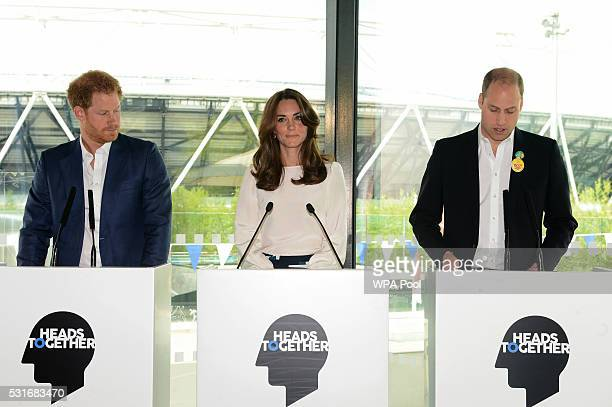 Prince Harry Catherine Duchess of Cambridge and Prince William Duke of Cambridge speak during the launch of the Heads Together campaign on mental...