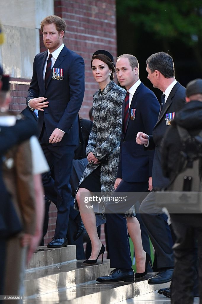 Prince Harry, Catherine, Duchess of Cambridge and Prince William, Duke of Cambridge attend the Somme Centenary commemorations at the Thiepval Memorial on June 30, 2016 in Albert, France.