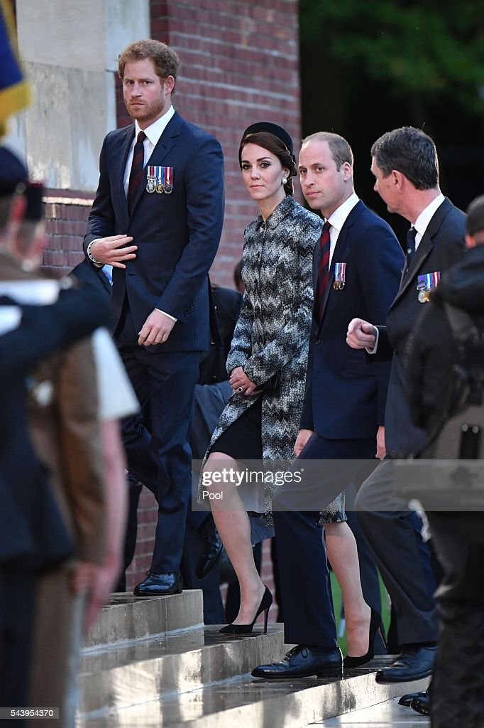 <a gi-track='captionPersonalityLinkClicked' href=/galleries/search?phrase=Prince+Harry&family=editorial&specificpeople=178173 ng-click='$event.stopPropagation()'>Prince Harry</a>, Catherine, Duchess of Cambridge and <a gi-track='captionPersonalityLinkClicked' href=/galleries/search?phrase=Prince+William&family=editorial&specificpeople=178205 ng-click='$event.stopPropagation()'>Prince William</a>, Duke of Cambridge attend the Somme Centenary commemorations at the Thiepval Memorial on June 30, 2016 in Albert, France.