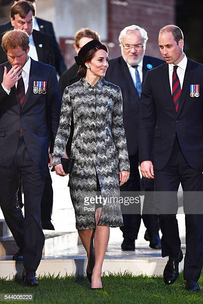 Prince Harry Catherine Duchess of Cambridge and Prince William Duke of Cambridge attend part of a militaryled vigil to commemorate the 100th...