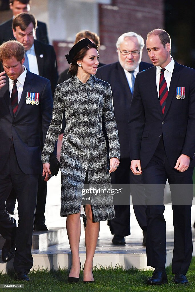 <a gi-track='captionPersonalityLinkClicked' href=/galleries/search?phrase=Prince+Harry&family=editorial&specificpeople=178173 ng-click='$event.stopPropagation()'>Prince Harry</a>, Catherine, Duchess of Cambridge and <a gi-track='captionPersonalityLinkClicked' href=/galleries/search?phrase=Prince+William&family=editorial&specificpeople=178205 ng-click='$event.stopPropagation()'>Prince William</a>, Duke of Cambridge attend part of a military-led vigil to commemorate the 100th anniversary of the beginning of the Battle of the Somme at the Thiepval memorial to the Missing in June 30, 2016 in Thiepval, France. The event is part of the Commemoration of the Centenary of the Battle of the Somme at the Commonwealth War Graves Commission Thiepval Memorial in Thiepval, France, where 70,000 British and Commonwealth soldiers with no known grave are commemorated.