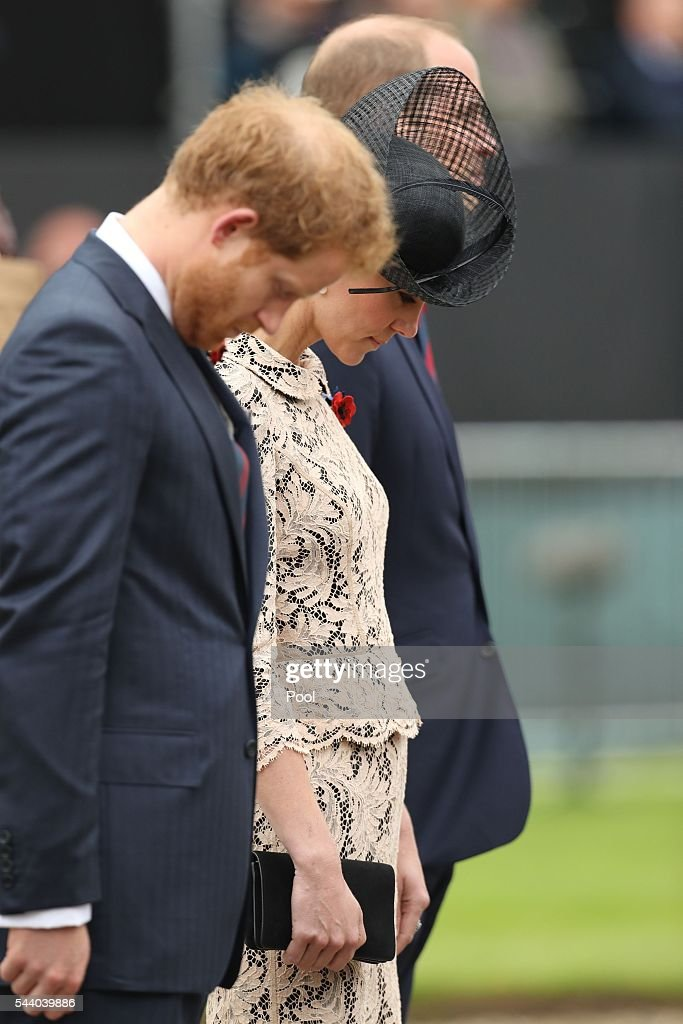 <a gi-track='captionPersonalityLinkClicked' href=/galleries/search?phrase=Prince+Harry&family=editorial&specificpeople=178173 ng-click='$event.stopPropagation()'>Prince Harry</a>, Catherine, Duchess of Cambridge and <a gi-track='captionPersonalityLinkClicked' href=/galleries/search?phrase=Prince+William&family=editorial&specificpeople=178205 ng-click='$event.stopPropagation()'>Prince William</a>, Duke of Cambridge attend a service to mark the 100th anniversary of the beginning of the Battle of the Somme at the Thiepval memorial to the Missing on July 1, 2016 in Thiepval, France. The event is part of the Commemoration of the Centenary of the Battle of the Somme at the Commonwealth War Graves Commission Thiepval Memorial in Thiepval, France, where 70,000 British and Commonwealth soldiers with no known grave are commemorated.