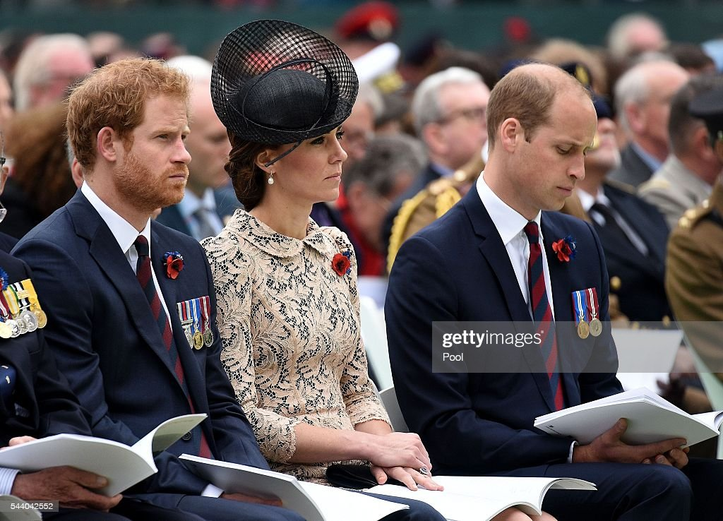 <a gi-track='captionPersonalityLinkClicked' href=/galleries/search?phrase=Prince+Harry&family=editorial&specificpeople=178173 ng-click='$event.stopPropagation()'>Prince Harry</a>, Catherine, Duchess of Cambridge and <a gi-track='captionPersonalityLinkClicked' href=/galleries/search?phrase=Prince+William&family=editorial&specificpeople=178205 ng-click='$event.stopPropagation()'>Prince William</a>, Duke of Cambridge during the service to mark the 100th anniversary of the beginning of the Battle of the Somme at the Thiepval memorial to the Missing on July 1, 2016 in Thiepval, France. The event is part of the Commemoration of the Centenary of the Battle of the Somme at the Commonwealth War Graves Commission Thiepval Memorial in Thiepval, France, where 70,000 British and Commonwealth soldiers with no known grave are commemorated.
