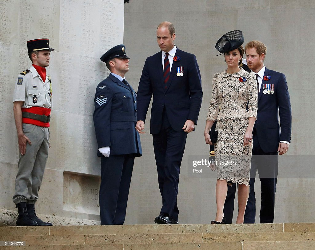 <a gi-track='captionPersonalityLinkClicked' href=/galleries/search?phrase=Prince+Harry&family=editorial&specificpeople=178173 ng-click='$event.stopPropagation()'>Prince Harry</a>, Catherine, Duchess of Cambridge and <a gi-track='captionPersonalityLinkClicked' href=/galleries/search?phrase=Prince+William&family=editorial&specificpeople=178205 ng-click='$event.stopPropagation()'>Prince William</a>, Duke of Cambridge walk during the 100th anniversary of the beginning of the Battle of the Somme at the Thiepval memorial to the Missing on July 1, 2016 in Thiepval, France. The event is part of the Commemoration of the Centenary of the Battle of the Somme at the Commonwealth War Graves Commission Thiepval Memorial in Thiepval, France, where 70,000 British and Commonwealth soldiers with no known grave are commemorated.