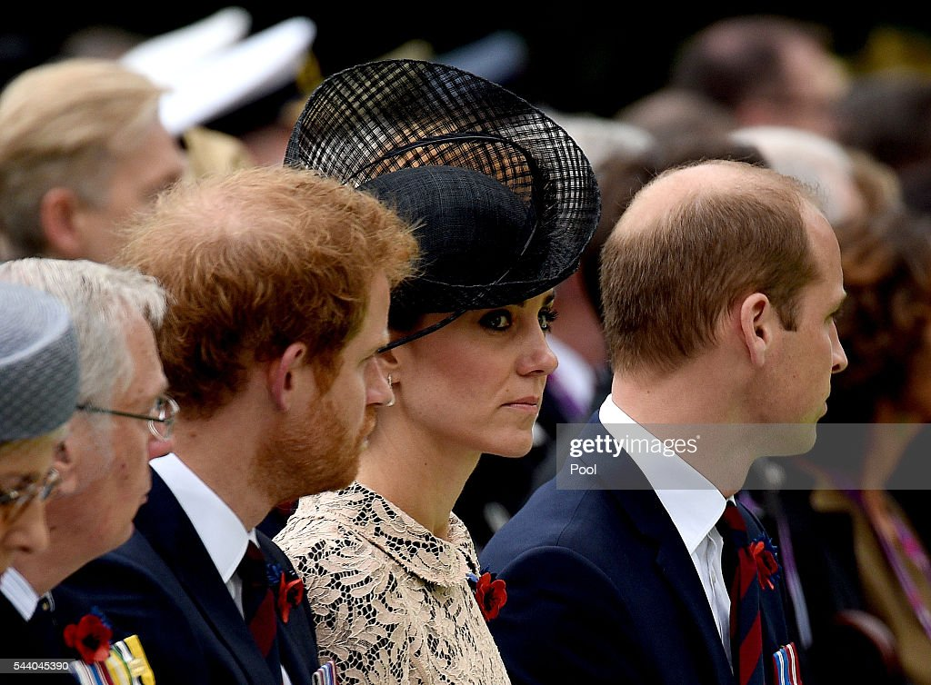 <a gi-track='captionPersonalityLinkClicked' href=/galleries/search?phrase=Prince+Harry&family=editorial&specificpeople=178173 ng-click='$event.stopPropagation()'>Prince Harry</a>, Catherine, Duchess of Cornwall and <a gi-track='captionPersonalityLinkClicked' href=/galleries/search?phrase=Prince+William&family=editorial&specificpeople=178205 ng-click='$event.stopPropagation()'>Prince William</a>, Duke of Cambridge during the Commemoration of the Centenary of the Battle of the Somme at the Commonwealth War Graves Commission Thiepval Memorial on July 1, 2016 in Thiepval, France. The event is part of the Commemoration of the Centenary of the Battle of the Somme at the Commonwealth War Graves Commission Thiepval Memorial in Thiepval, France, where 70,000 British and Commonwealth soldiers with no known grave are commemorated.