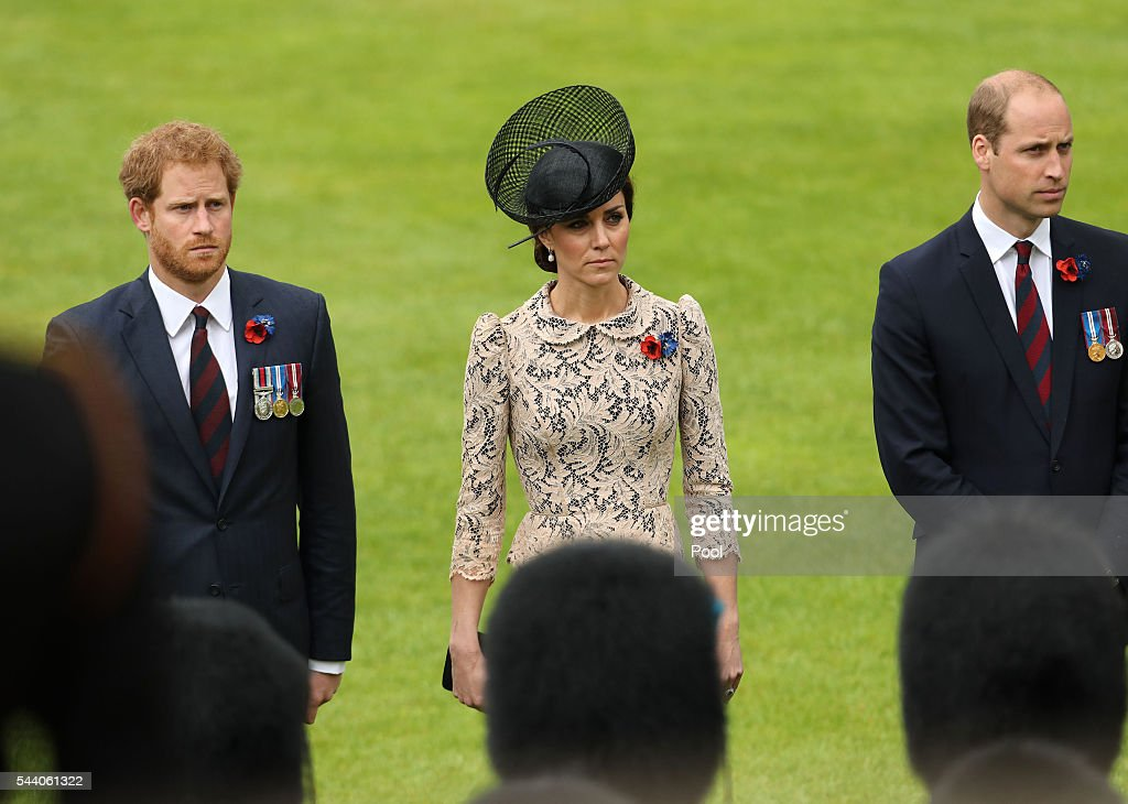Prince Harry, Catherine, Duchess of Cambridge and Prince William, Duke of Cambridge attends a service to mark the 100th anniversary of the beginning of the Battle of the Somme at the Thiepval memorial to the Missing on July 1, 2016 in Thiepval, France. The event is part of the Commemoration of the Centenary of the Battle of the Somme at the Commonwealth War Graves Commission Thiepval Memorial in Thiepval, France, where 70,000 British and Commonwealth soldiers with no known grave are commemorated.