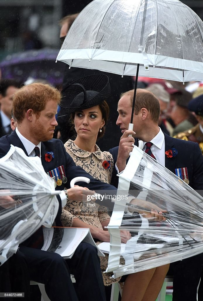 <a gi-track='captionPersonalityLinkClicked' href=/galleries/search?phrase=Prince+Harry&family=editorial&specificpeople=178173 ng-click='$event.stopPropagation()'>Prince Harry</a>, Catherine, Duchess of Cambridge and <a gi-track='captionPersonalityLinkClicked' href=/galleries/search?phrase=Prince+William&family=editorial&specificpeople=178205 ng-click='$event.stopPropagation()'>Prince William</a>, Duke of Cambridge shelter under umbrellas during the Commemoration of the Centenary of the Battle of the Somme at the Commonwealth War Graves Commission Thiepval Memorial on July 1, 2016 in Thiepval, France. The event is part of the Commemoration of the Centenary of the Battle of the Somme at the Commonwealth War Graves Commission Thiepval Memorial in Thiepval, France, where 70,000 British and Commonwealth soldiers with no known grave are commemorated.