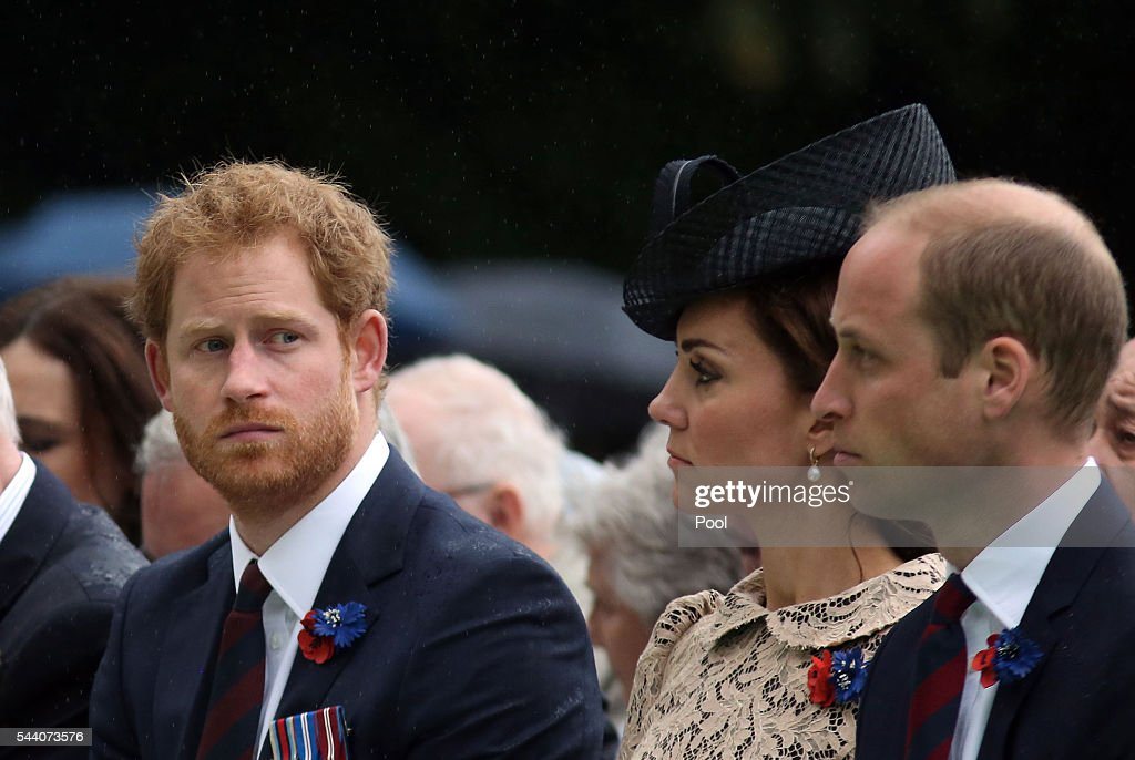 <a gi-track='captionPersonalityLinkClicked' href=/galleries/search?phrase=Prince+Harry&family=editorial&specificpeople=178173 ng-click='$event.stopPropagation()'>Prince Harry</a>, Catherine, Duchess of Cornwall and Prince William, Duke of Cambridge during the Commemoration of the Centenary of the Battle of the Somme at the Commonwealth War Graves Commission Thiepval Memorial on July 1, 2016 in Thiepval, France. The event is part of the Commemoration of the Centenary of the Battle of the Somme at the Commonwealth War Graves Commission Thiepval Memorial in Thiepval, France, where 70,000 British and Commonwealth soldiers with no known grave are commemorated.