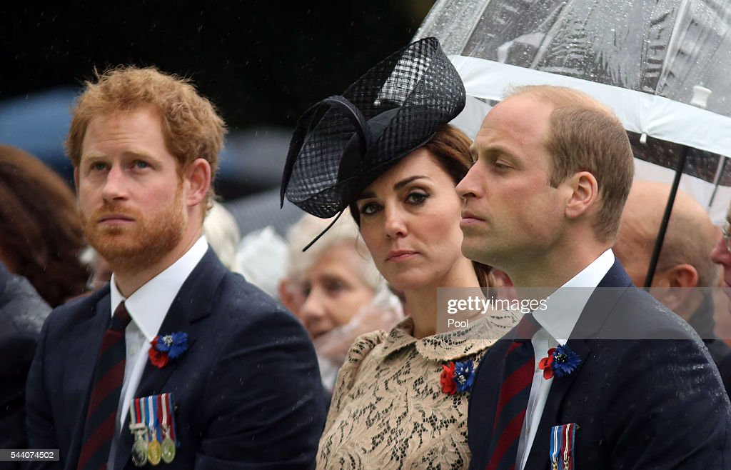 <a gi-track='captionPersonalityLinkClicked' href=/galleries/search?phrase=Prince+Harry&family=editorial&specificpeople=178173 ng-click='$event.stopPropagation()'>Prince Harry</a>, Catherine, Duchess of Cambridge and <a gi-track='captionPersonalityLinkClicked' href=/galleries/search?phrase=Prince+William&family=editorial&specificpeople=178205 ng-click='$event.stopPropagation()'>Prince William</a>, Duke of Cambridge during the Commemoration of the Centenary of the Battle of the Somme at the Commonwealth War Graves Commission Thiepval Memorial on July 1, 2016 in Thiepval, France. The event is part of the Commemoration of the Centenary of the Battle of the Somme at the Commonwealth War Graves Commission Thiepval Memorial in Thiepval, France, where 70,000 British and Commonwealth soldiers with no known grave are commemorated.