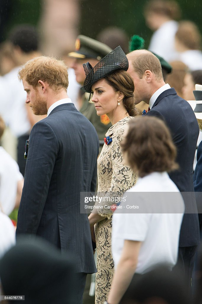 Prince Harry, Catherine, Duchess of Cambridge and Prince William, Duke of Cambridge during the Commemoration of the Centenary of the Battle of the Somme at the Commonwealth War Graves Commission Thiepval Memorial on July 1, 2016 in Thiepval, France.