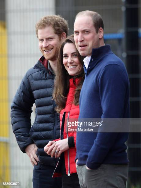 Prince Harry Catherine Duchess of Cambridge and Prince William Duke of Cambridge during a training day for the Heads Together team for the London...