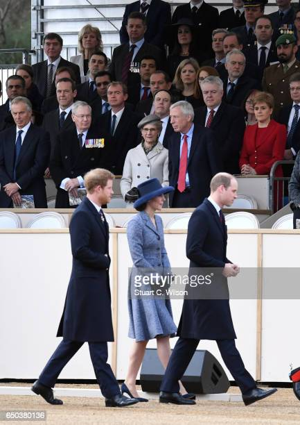 Prince Harry Catherine Duchess of Cambridge and Prince William Duke of Cambridge attend the dedication service of The Iraq and Afghanistan memorial...