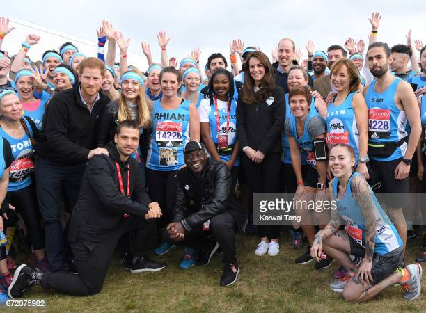Prince Harry Catherine Duchess of Cambridge and Prince William Duke of Cambridge meet Heads Together runners in the Blue Start area as they prepare...