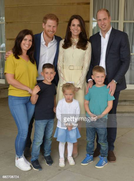 Prince Harry Catherine Duchess of Cambridge and Prince William Duke of Cambridge backstage with Samantha Davidson and her children Jayden Jamie...