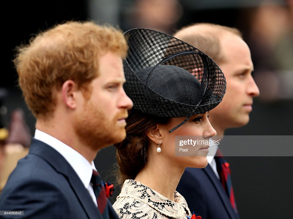 <a gi-track='captionPersonalityLinkClicked' href=/galleries/search?phrase=Prince+Harry&family=editorial&specificpeople=178173 ng-click='$event.stopPropagation()'>Prince Harry</a>, Catherine, Duchess of Cambridge and William, Duke of Cambridge attend a service to mark the 100th anniversary of the beginning of the Battle of the Somme at the Thiepval memorial to the Missing on July 1, 2016 in Thiepval, France. The event is part of the Commemoration of the Centenary of the Battle of the Somme at the Commonwealth War Graves Commission Thiepval Memorial in Thiepval, France, where 70,000 British and Commonwealth soldiers with no known grave are commemorated.