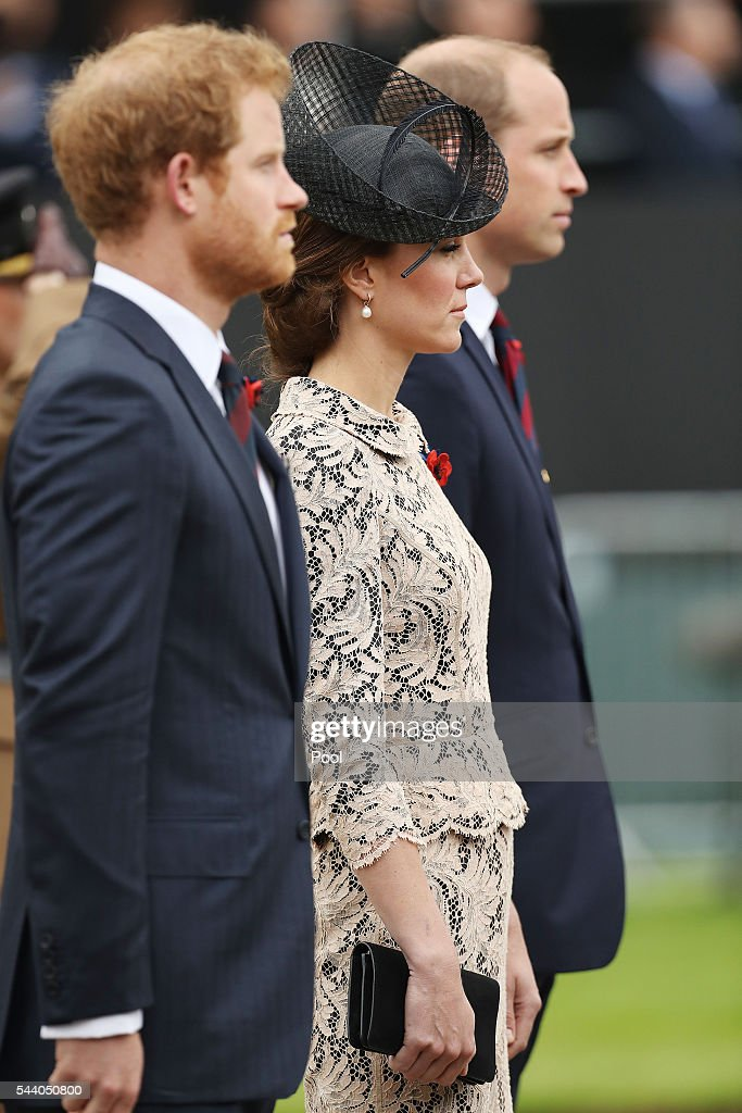 Prince Harry, Catherine, Duchess of Cambridge and William, Duke of Cambridge attend a service to mark the 100th anniversary of the beginning of the Battle of the Somme at the Thiepval memorial to the Missing on July 1, 2016 in Thiepval, France. The event is part of the Commemoration of the Centenary of the Battle of the Somme at the Commonwealth War Graves Commission Thiepval Memorial in Thiepval, France, where 70,000 British and Commonwealth soldiers with no known grave are commemorated.
