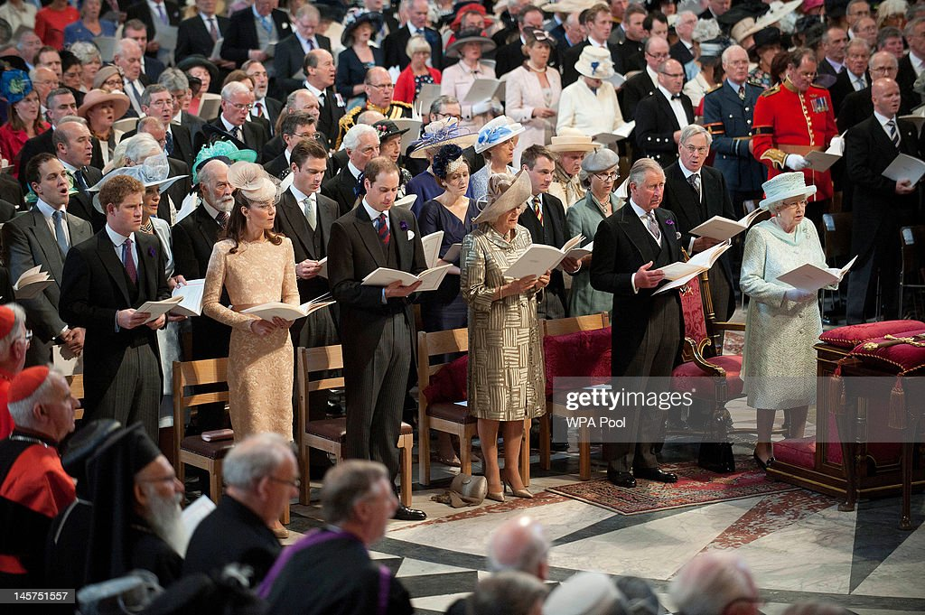 <a gi-track='captionPersonalityLinkClicked' href=/galleries/search?phrase=Prince+Harry&family=editorial&specificpeople=178173 ng-click='$event.stopPropagation()'>Prince Harry</a>, Catherine, Duchess of Cambridge, <a gi-track='captionPersonalityLinkClicked' href=/galleries/search?phrase=Prince+William&family=editorial&specificpeople=178205 ng-click='$event.stopPropagation()'>Prince William</a>, Duke of Cambridge, <a gi-track='captionPersonalityLinkClicked' href=/galleries/search?phrase=Camilla+-+Duchess+of+Cornwall&family=editorial&specificpeople=158157 ng-click='$event.stopPropagation()'>Camilla</a>, Duchess of Cornwall, <a gi-track='captionPersonalityLinkClicked' href=/galleries/search?phrase=Prince+Charles+-+Prince+of+Wales&family=editorial&specificpeople=160180 ng-click='$event.stopPropagation()'>Prince Charles</a>, Prince of Wales and Queen <a gi-track='captionPersonalityLinkClicked' href=/galleries/search?phrase=Elizabeth+II&family=editorial&specificpeople=67226 ng-click='$event.stopPropagation()'>Elizabeth II</a> during a service of thanksgiving to mark the Queen's Diamond Jubilee at St Paul's cathedral on June 5, 2012 in London, England. For only the second time in its history the UK celebrates the Diamond Jubilee of a monarch. Her Majesty Queen <a gi-track='captionPersonalityLinkClicked' href=/galleries/search?phrase=Elizabeth+II&family=editorial&specificpeople=67226 ng-click='$event.stopPropagation()'>Elizabeth II</a> celebrates the 60th anniversary of her ascension to the throne today with a carriage procession and a service of thanksgiving at St Paul's Cathedral.