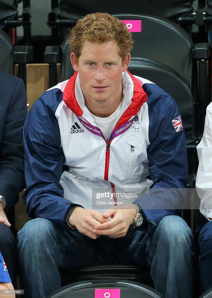 <a gi-track='captionPersonalityLinkClicked' href=/galleries/search?phrase=Prince+Harry&family=editorial&specificpeople=178173 ng-click='$event.stopPropagation()'>Prince Harry</a> celebrates as Team GB scores as he attends the Goalball on day 6 of the London 2012 Paralympic Games at The Copper Box on September 4, 2012 in London, England.