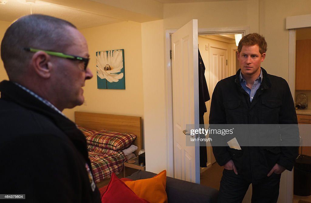 Prince Harry chats to former Royal Engineer Pete Foggins during a visit to the charity Armed Forces and Veterans Launchpad at Avondale House on February 25, 2015 in Newcastle upon Tyne, England. The charity provides accommodation and support for Armed Forces veterans who are making the transition into civilian life.