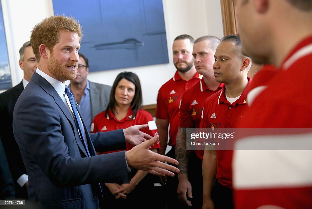 Prince Harry chats to members of the Canadian Invictus team as he attends a reception for supporters and organisers of the Invictus Games Toronto at the Office of the Lieutenant Governor on May 2, 2016 in Toronto, Canada. Prince Harry is in Toronto for the Launch of the 2017 Toronto Invictus Games before heading down to Miami and the 2016 Invictus Games in Orlando.