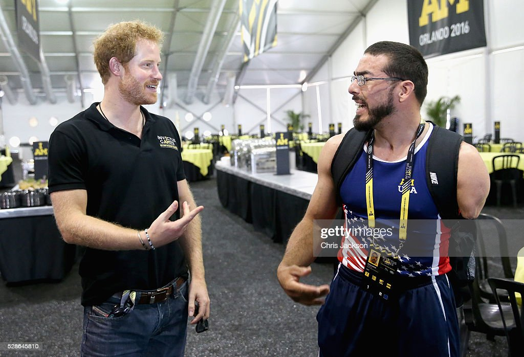 Prince Harry chats to Team USA Athlete Michael Kacer ahead of Invictus Games Orlando 2016 at ESPN Wide World of Sports on May 6, 2016 in Orlando, Florida. Prince Harry, patron of the Invictus Games Foundation is in Orlando ahead of the opening of Invictus Games which will open on Sunday. The Invictus Games is the only International sporting event for wounded, injured and sick servicemen and women. Started in 2014 by Prince Harry the Invictus Games uses the power of Sport to inspire recovery and support rehabilitation.