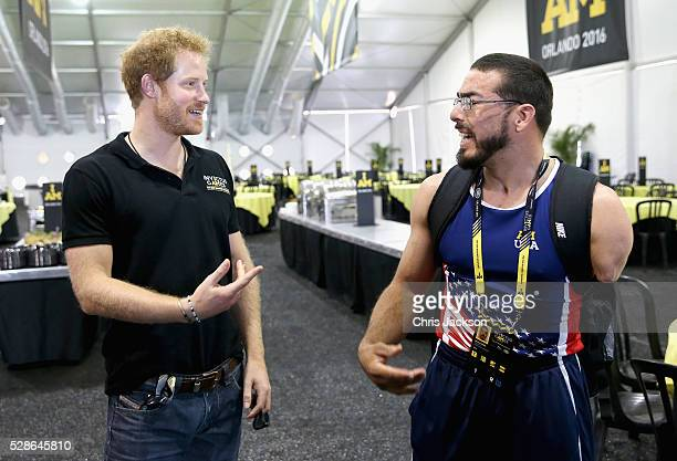 Prince Harry chats to Team USA Athlete Michael Kacer ahead of Invictus Games Orlando 2016 at ESPN Wide World of Sports on May 6 2016 in Orlando...