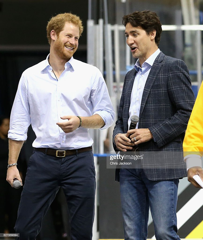 Prince Harry chats with Canadian Prime Minister Justin Trudeau as they watch a sledge-hockey match Mattany at the Athletic Centre on May 2, 2016 in Toronto, Canada. Prince Harry is in Toronto for the Launch of the 2017 Toronto Invictus Games before heading down to Miami and the 2016 Invictus Games in Orlando.