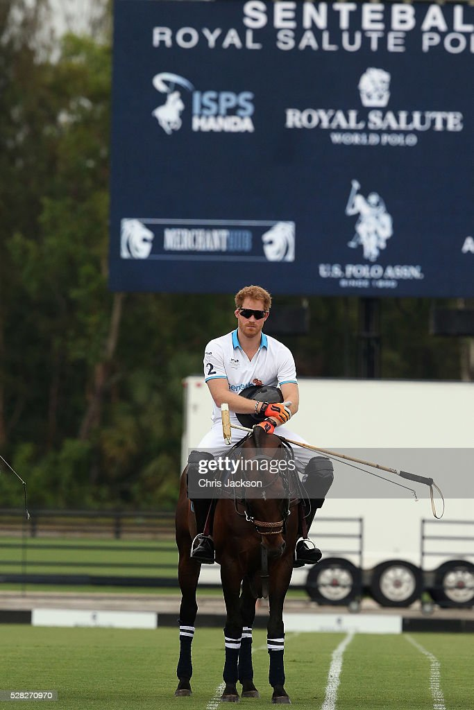 Prince Harry competes during the Sentebale Royal Salute Polo Cup in Palm Beach at Valiente Polo Farm on May 4, 2016 in Palm Beach, United. The event will raise money for Prince Harry's charity Sentebale, which supports vulnerable children and young people living with HIV in Lesotho in southern Africa.