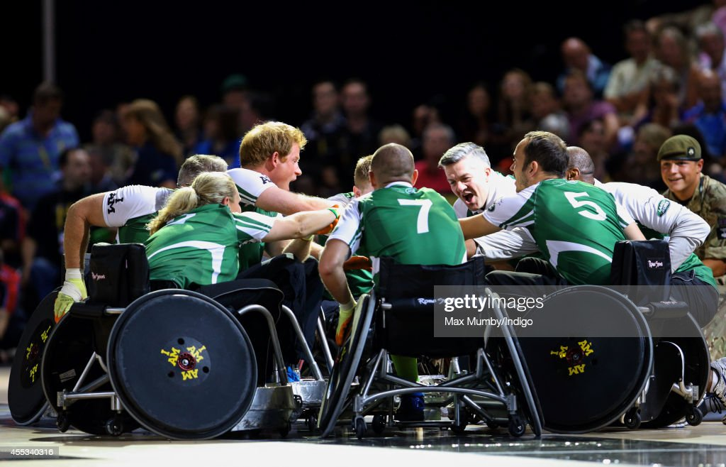 Prince Harry competes in a Wheelchair Rugby exhibition match in the Copper Box Arena during the Invictus Games on September 12 2014 in London England