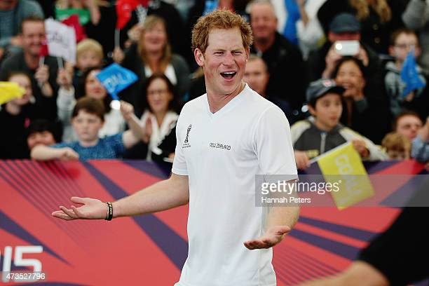 Prince Harry complains to the referee as he captains the New Zealand team playing the All Stars in a five a side game of football to promote FIFA...