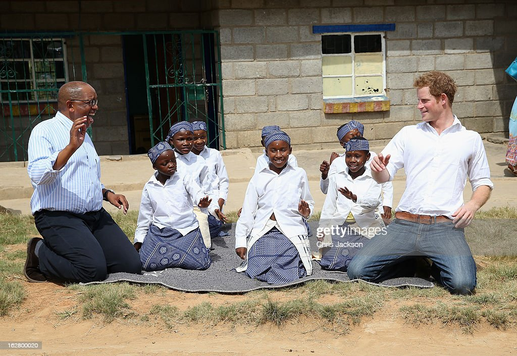Prince Harry dances visits the Kananelo Centre for the deaf, a project supported by his charity Sentebale on February 27, 2013 in Maseru, Lesotho. Sentebale is a charity founded by Prince Harry and Prince Seeiso of Lesotho. It helps the most vulnerable children in Lesotho get the support they need to lead healthy and productive lives. Sentebale works with local grassroots organisations to help these children, the victims of extreme poverty and Lesotho's HIV/AIDS epidemic. Cathy Ferrier was appointed as Sentebale's Chief Executive in March 2012 and is spearheading a fundraising initiative to build the Mamohato Centre which will provide psychosocial support for children and young people infected with HIV. Prince Harry is due to pay a visit to Lesotho this week to catch up on his charity's progress and meet key children who will be supported by the charity.
