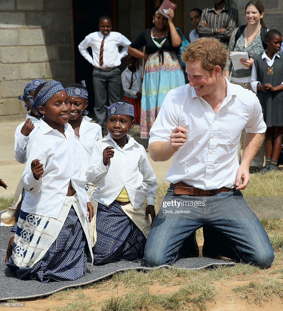 <a gi-track='captionPersonalityLinkClicked' href=/galleries/search?phrase=Prince+Harry&family=editorial&specificpeople=178173 ng-click='$event.stopPropagation()'>Prince Harry</a> dances with deaf children during at visit to the Kananelo Centre for the deaf, a project supported by his charity Sentebale on February 27, 2013 in Maseru, Lesotho. Sentebale is a charity founded by <a gi-track='captionPersonalityLinkClicked' href=/galleries/search?phrase=Prince+Harry&family=editorial&specificpeople=178173 ng-click='$event.stopPropagation()'>Prince Harry</a> and Prince Seeiso of Lesotho. It helps the most vulnerable children in Lesotho get the support they need to lead healthy and productive lives. Sentebale works with local grassroots organisations to help these children, the victims of extreme poverty and Lesotho's HIV/AIDS epidemic. Cathy Ferrier was appointed as Sentebale's Chief Executive in March 2012 and is spearheading a fundraising initiative to build the Mamohato Centre which will provide psychosocial support for children and young people infected with HIV. <a gi-track='captionPersonalityLinkClicked' href=/galleries/search?phrase=Prince+Harry&family=editorial&specificpeople=178173 ng-click='$event.stopPropagation()'>Prince Harry</a> is due to pay a visit to Lesotho this week to catch up on his charity's progress and meet key children who will be supported by the charity.