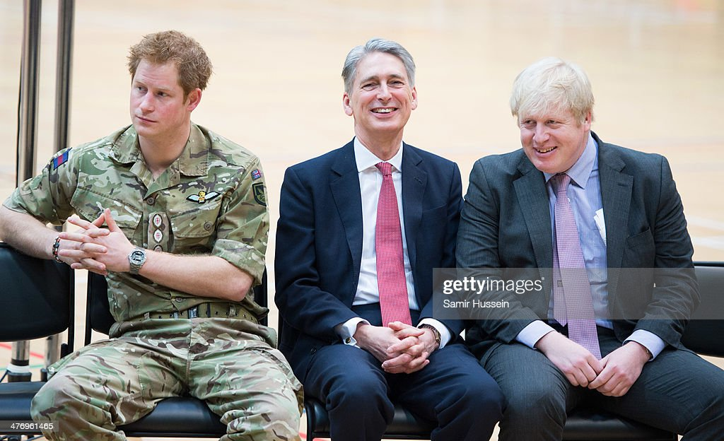 <a gi-track='captionPersonalityLinkClicked' href=/galleries/search?phrase=Prince+Harry&family=editorial&specificpeople=178173 ng-click='$event.stopPropagation()'>Prince Harry</a>, Defence Secretary <a gi-track='captionPersonalityLinkClicked' href=/galleries/search?phrase=Philip+Hammond&family=editorial&specificpeople=2486715 ng-click='$event.stopPropagation()'>Philip Hammond</a> and London Mayor <a gi-track='captionPersonalityLinkClicked' href=/galleries/search?phrase=Boris+Johnson&family=editorial&specificpeople=209016 ng-click='$event.stopPropagation()'>Boris Johnson</a> attend the launch of the Invictus Games For Our Wounded Warriors at the Copper Box on March 6, 2014 in London, England.