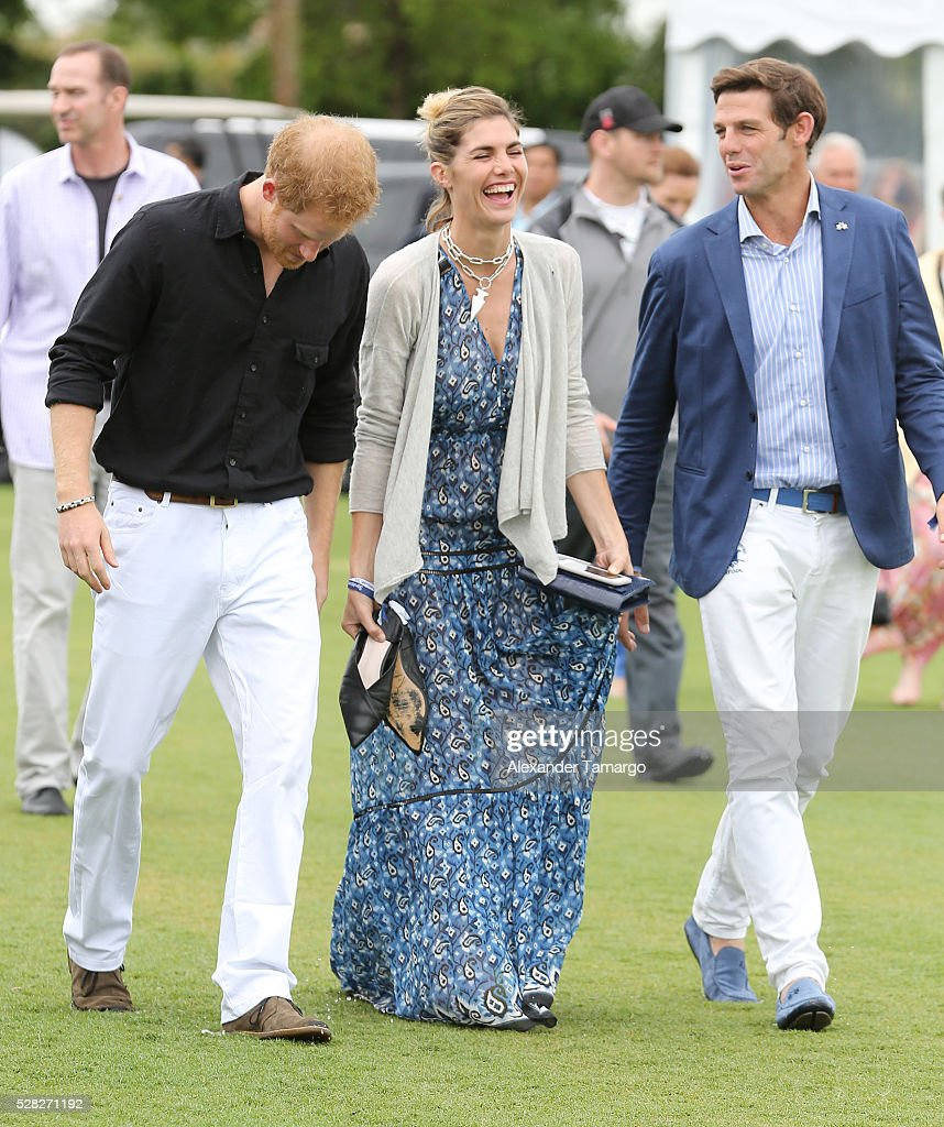 Prince Harry, <a gi-track='captionPersonalityLinkClicked' href=/galleries/search?phrase=Delfina+Blaquier&family=editorial&specificpeople=4418052 ng-click='$event.stopPropagation()'>Delfina Blaquier</a> and Malcolm Borwick are seen arriving at the Sentebale Royal Salute Polo Cup WIth Prince Harry on May 4, 2016 in Wellington, Florida.