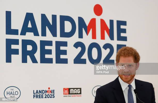 Prince Harry delivers a keynote speech at an International Mine Awareness Day reception at Kensington Palace on April 4 2017 in London England 2017...