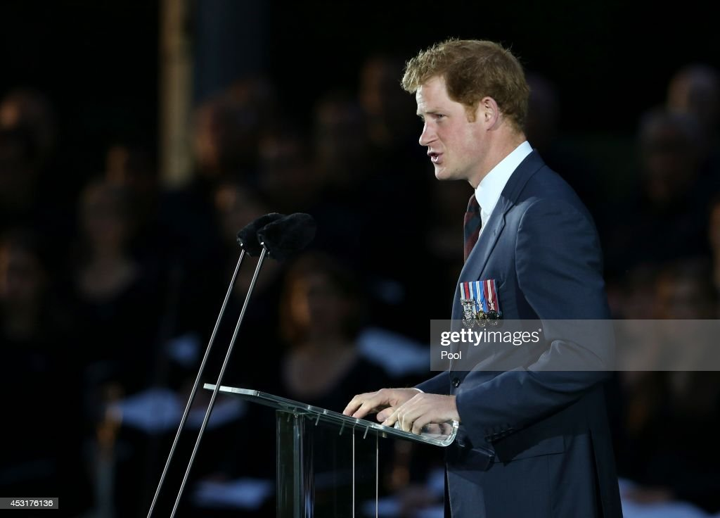 <a gi-track='captionPersonalityLinkClicked' href=/galleries/search?phrase=Prince+Harry&family=editorial&specificpeople=178173 ng-click='$event.stopPropagation()'>Prince Harry</a> delivers a speech during a ceremony at St Symphorien Military Cemetery on August 4, 2014 in Mons, Belgium. Monday 4th August marks the 100th Anniversary of Great Britain declaring war on Germany. In 1914 British Prime Minister Herbert Asquith announced at 11pm that Britain was to enter the war after Germany had violated Belgium's neutrality. The First World War or the Great War lasted until 11 November 1918 and is recognised as one of the deadliest historical conflicts with millions of casualties. A series of events commemorating the 100th Anniversary are taking place throughout the day.