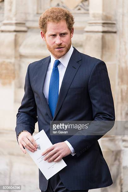 Prince Harry departs after the service of commemoration for the victims of the 2015 terrorist attacks In Tunisia at Westminster Abbey on April 12...
