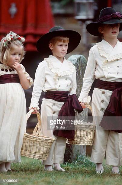 Prince Harry Dressed As An Edwardianstyle Pageboy At The Wedding Of His Uncle At The Church Of St Mary The Virgin He Is With His Cousins Eleanor...
