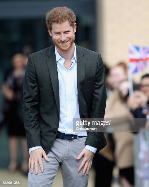 Prince Harry during a visit to Hamilton College on March 21 2017 in Leicester England