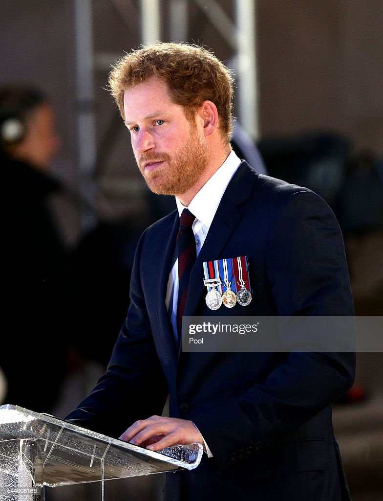 Prince Harry gives a reading as part of a military-led vigil to commemorate the 100th anniversary of the beginning of the Battle of the Somme at the Thiepval memorial to the Missing in June 30, 2016 in Thiepval, France. The event is part of the Commemoration of the Centenary of the Battle of the Somme at the Commonwealth War Graves Commission Thiepval Memorial in Thiepval, France, where 70,000 British and Commonwealth soldiers with no known grave are commemorated.