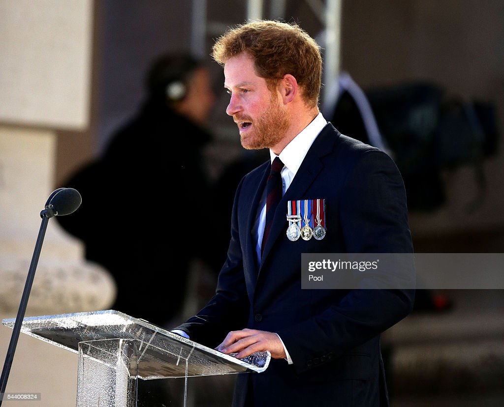 <a gi-track='captionPersonalityLinkClicked' href=/galleries/search?phrase=Prince+Harry&family=editorial&specificpeople=178173 ng-click='$event.stopPropagation()'>Prince Harry</a> gives a reading as part of a military-led vigil to commemorate the 100th anniversary of the beginning of the Battle of the Somme at the Thiepval memorial to the Missing in June 30, 2016 in Thiepval, France. The event is part of the Commemoration of the Centenary of the Battle of the Somme at the Commonwealth War Graves Commission Thiepval Memorial in Thiepval, France, where 70,000 British and Commonwealth soldiers with no known grave are commemorated.