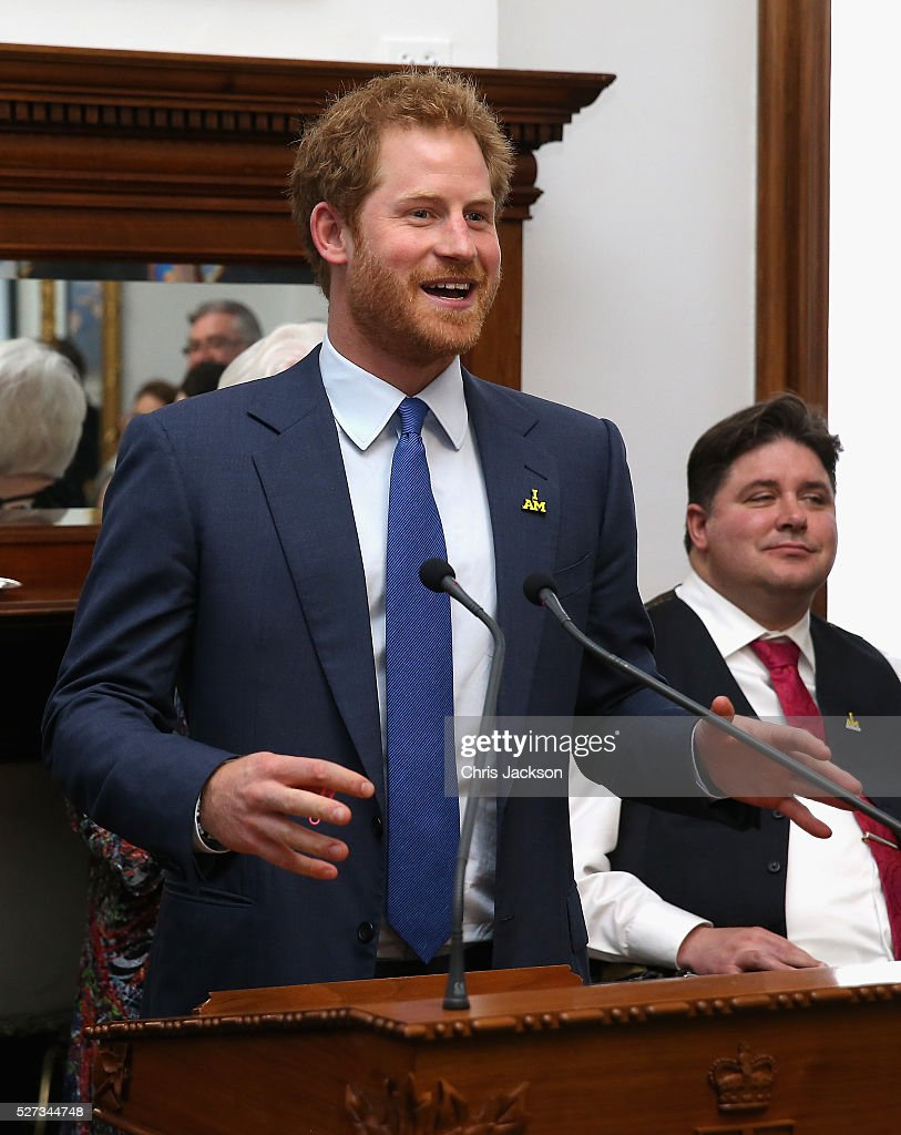 Prince Harry gives a speech as he attends a reception for supporters and organisers of the Invictus Games Toronto at the Office of the Lieutenant Governor on May 2, 2016 in Toronto, Canada. Prince Harry is in Toronto for the Launch of the 2017 Toronto Invictus Games before heading down to Miami and the 2016 Invictus Games in Orlando.