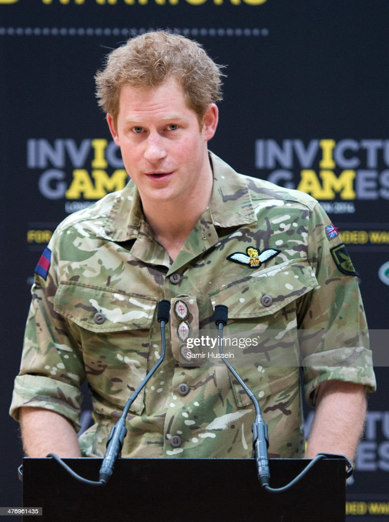 <a gi-track='captionPersonalityLinkClicked' href=/galleries/search?phrase=Prince+Harry&family=editorial&specificpeople=178173 ng-click='$event.stopPropagation()'>Prince Harry</a> gives a speech as he attends the launch of the Invictus Games For Our Wounded Warriors at the Copper Box on March 6, 2014 in London, England.