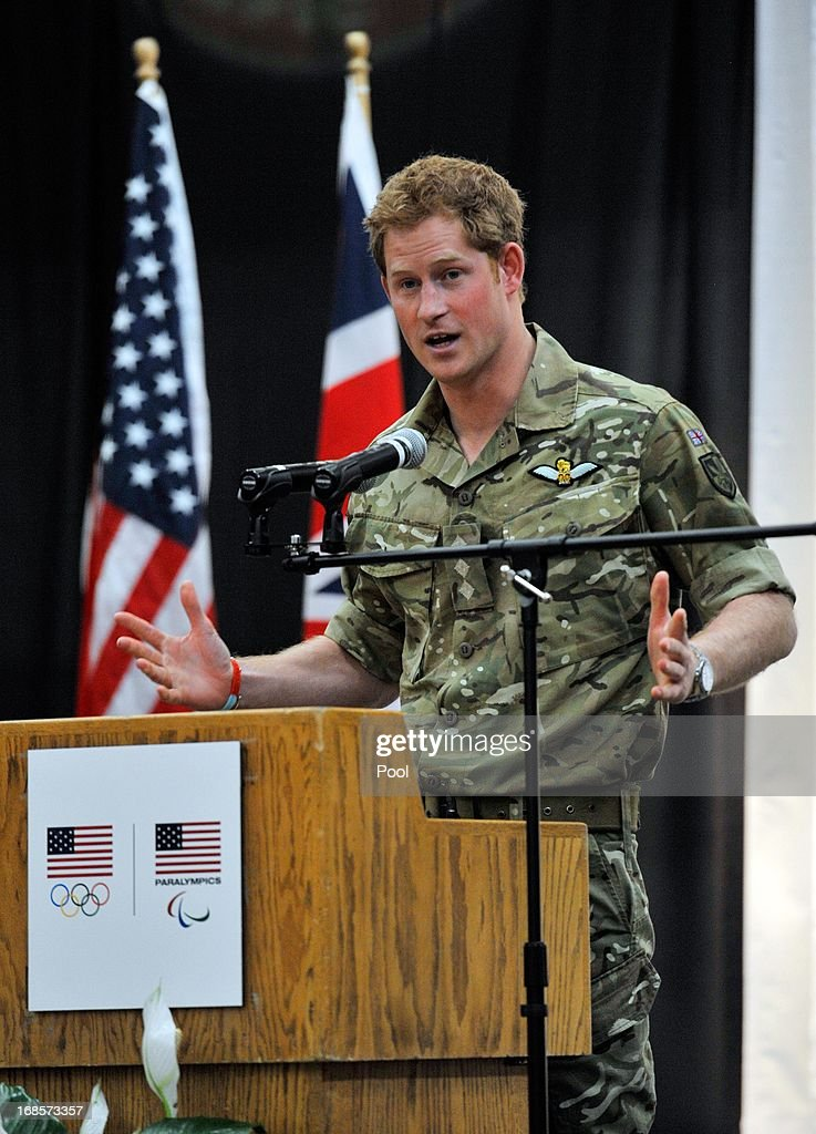 <a gi-track='captionPersonalityLinkClicked' href=/galleries/search?phrase=Prince+Harry&family=editorial&specificpeople=178173 ng-click='$event.stopPropagation()'>Prince Harry</a> gives a speech at a reception and brunch at the start of the 2013 Warrior Games at the U.S. Olympic Training Center on May 11, 2013 in Colorado Springs, Colorado. HRH will be undertaking engagements on behalf of charities with which the Prince is closely associated on behalf also of HM Government, with a central theme of supporting injured service personnel from the UK and US forces.