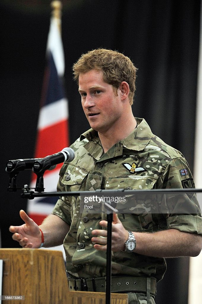 Prince Harry gives a speech at a reception and brunch at the start of the 2013 Warrior Games at the U.S. Olympic Training Center on May 11, 2013 in Colorado Springs, Colorado. HRH will be undertaking engagements on behalf of charities with which the Prince is closely associated on behalf also of HM Government, with a central theme of supporting injured service personnel from the UK and US forces.