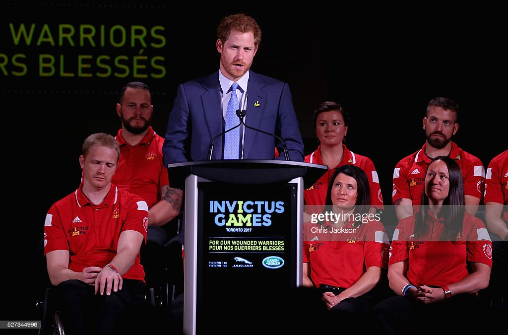Prince Harry gives a speech at the Lauch of Invictus 2017 Toronto at the Fairmont Royal York Hotel on May 2, 2016 in Toronto, Canada. Prince Harry is in Toronto for the Launch of the 2017 Toronto Invictus Games before heading down to Miami and the 2016 Invictus Games in Orlando.
