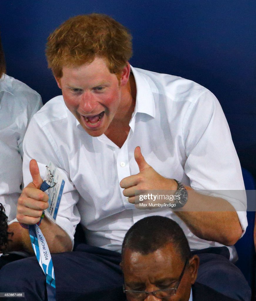 <a gi-track='captionPersonalityLinkClicked' href=/galleries/search?phrase=Prince+Harry&family=editorial&specificpeople=178173 ng-click='$event.stopPropagation()'>Prince Harry</a> gives a Thumbs Up as he watches the swimming at the Tollcross International Swimming Centre during the 20th Commonwealth Games on July 28, 2014 in Glasgow, Scotland.