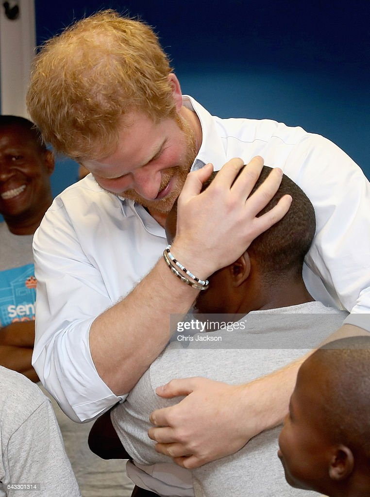 <a gi-track='captionPersonalityLinkClicked' href=/galleries/search?phrase=Prince+Harry&family=editorial&specificpeople=178173 ng-click='$event.stopPropagation()'>Prince Harry</a> greets his old friend 16 year-old Relebohile 'Mutsu' Potsane ( who <a gi-track='captionPersonalityLinkClicked' href=/galleries/search?phrase=Prince+Harry&family=editorial&specificpeople=178173 ng-click='$event.stopPropagation()'>Prince Harry</a> has stayed in touch with since they first met during his first visit to Lesotho in 2004) who is singing as part of the Basotho Youth Choir, made up of six boys and six girls, aged between 7 and 19 years old at the Brit School on June 27, 2016 in London, England. The Basotho Youth Choir will perform alongside Sentebale Ambassador Joss Stone at tommorow's Sentebale Concert at Kensington Palace, headlined by Coldplay.