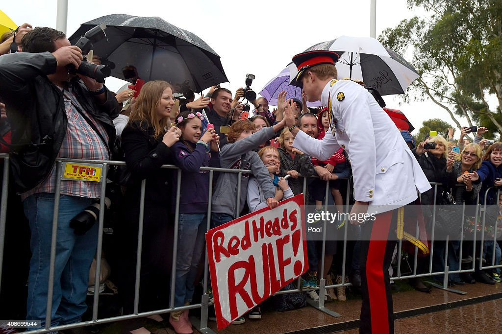 <a gi-track='captionPersonalityLinkClicked' href=/galleries/search?phrase=Prince+Harry&family=editorial&specificpeople=178173 ng-click='$event.stopPropagation()'>Prince Harry</a> greets members of the public outside the Australian War Memorial on April 6, 2015 in Canberra, Australia. <a gi-track='captionPersonalityLinkClicked' href=/galleries/search?phrase=Prince+Harry&family=editorial&specificpeople=178173 ng-click='$event.stopPropagation()'>Prince Harry</a>, or Captain Wales as he is known in the British Army, will end his military career with a month long secondment to the Australian Defence Force in barracks in Sydney, Perth and Darwin.